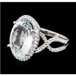 14KT White Gold 9.47ct Aquamarine and Diamond Ring