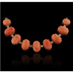 14KT Rose Gold 28.70ctw Pink Coral and Pink Coral Necklace
