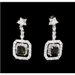 0.85ctw Green Tourmaline and Diamond Earrings - 14KT White Gold