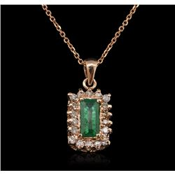 14KT Rose Gold 0.91ct Emerald and Diamond Pendant With Chain