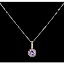 1.55ct Tanzanite and Diamond Pendant With Chain - 14KT White Gold