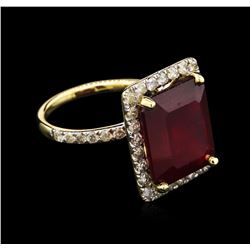 13.55ct Ruby and Diamond Ring - 14KT Yellow Gold