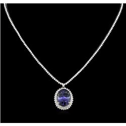 GIA Cert 18.37ct Tanzanite and Diamond Necklace - 14KT White Gold