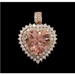 15.06ct Morganite and Diamond Pendant - 14KT Rose Gold