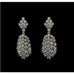 4.70ctw Diamond Dangle Earrings - 14KT White Gold