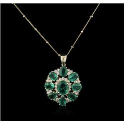 14KT Yellow Gold 7.97ctw Emerald and Diamond Pendant With Chain