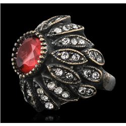 Silver 1.45ct Red Crystal and Cubic Zirconia Ring
