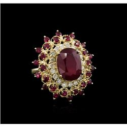 10.10ctw Ruby and Diamond Ring - 14KT Yellow Gold