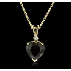 14KT Yellow Gold 2.19ct Garnet and Diamond Pendant With Chain