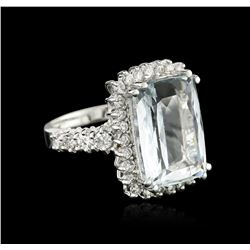 14KT White Gold 7.95ct Aquamarine and Diamond Ring