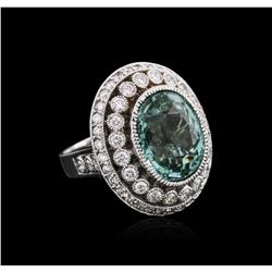 18KT White Gold GIA Certified 12.44ct Tourmaline and Diamond Ring