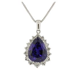 14KT White Gold GIA Certified 23.12ct Tanzanite and Diamond Pendant With Chain