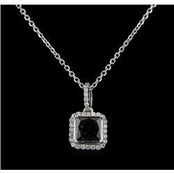 2.56ctw Fancy Black Diamond Pendant With Chain - 14KT White Gold