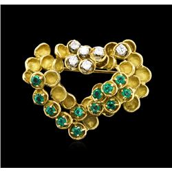 0.85ctw Emerald and Diamond Pin - 18KT Two-Tone Gold