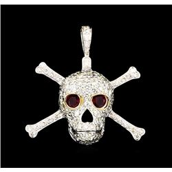 0.50ctw Ruby and Diamond Skull Pendant With Chain - 14KT White Gold