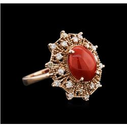 14KT Rose Gold 2.82ct Coral and Diamond Ring