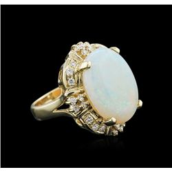 14KT Yellow Gold 4.68ct Opal and Diamond Ring