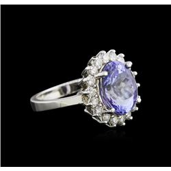 4.34ct Tanzanite and Diamond Ring - 14KT White Gold