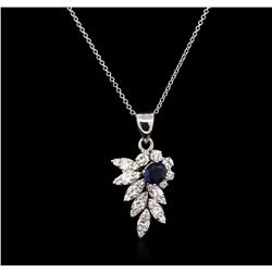 0.87ct Blue Sapphire and Diamond Pendant With Chain - 14KT White Gold