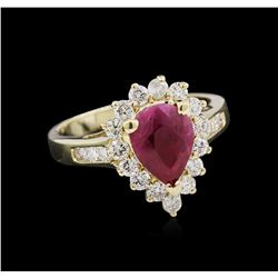 1.53ct Ruby and Diamond Ring - 14KT Yellow Gold