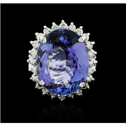 14KT White Gold 12.19ct Tanzanite and Diamond Ring