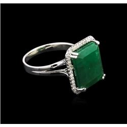 7.82ct Emerald and Diamond Ring - 14KT White Gold