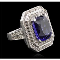 Platinum 15.86ct Tanzanite and Diamond Ring