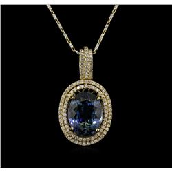 12.76ct Tanzanite and Diamond Necklace -  14KT Yellow Gold