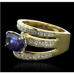 18KT Yellow Gold 5.16ct Tanzanite and Diamond Ring
