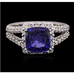 14KT White Gold 2.53ct Tanzanite and Diamond Ring