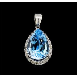 10.00ct Blue Topaz and Diamond Pendant - 14KT White Gold