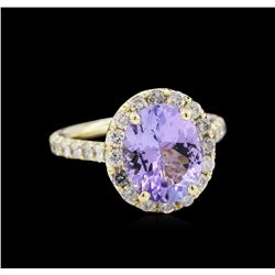 3.07ct Tanzanite and Diamond Ring - 14KT Yellow Gold