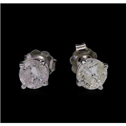 1.43ctw Diamond Solitaire Earrings - 14KT White Gold