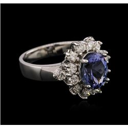 14KT White Gold 2.24ct Tanzanite and Diamond Ring