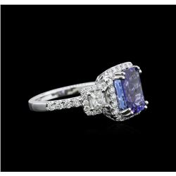 3.35ct Tanzanite and Diamond Ring - 18KT White Gold