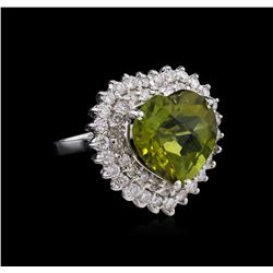 9.94ct Tourmaline and Diamond Ring - 14KT White Gold