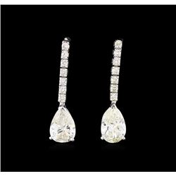 3.43ctw Diamond Earrings - 14KT White Gold