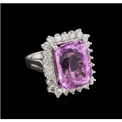 15.37ct Kunzite and Diamond Ring - 14KT White Gold