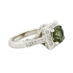 14KT White Gold 1.88ct Green Tourmaline and Diamond Ring