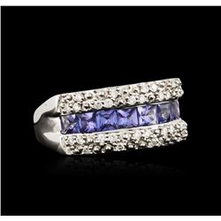 14KT White Gold 1.53ctw Tanzanite and Diamond Ring