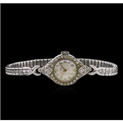 Elgin Platinum and Stainless Steel Diamond Ladies Vintage Watch