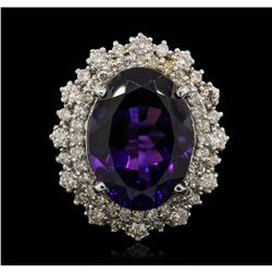14KT White Gold 11.11ct Amethyst and Diamond Ring