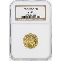 1986-W NGC MS70 $5 Liberty Gold Coin