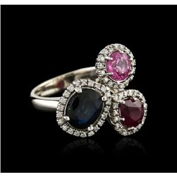 14KT White Gold 3.25ctw Sapphire, Ruby and Diamond Ring