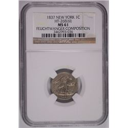 1837 FEUCHTWANGER ONE CENT HT-268 (61) NGC MS-61