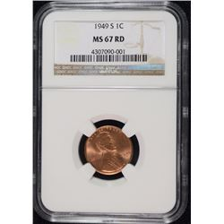 1949-S LINCOLN CENT, NGC MS-67 RED NGC PRICE GUIDE=$425.00