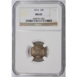 1914 BARBER DIME, NGC MS-65 GORGEOUS COLORS