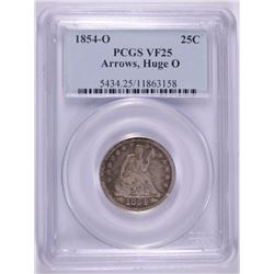 "1854-O SEATED QUARTER PCGS VF-25 HUGE ""O"" RARE TOUGH COIN TO FIND PROBLEM FREE"