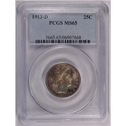 1913-D BARBER QUARTER, PCGS MS-65 ABSOLUTELY GORGEOUS!
