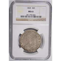1825 BUST HALF DOLLAR NGC MS61 NICE ORIGINAL, LOOKS BETTER THAN 61...